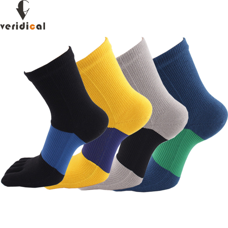 VERIDICAL Compression Toe Socks Cotton Good Quality Five Fingers Socks  5 Pairs/lot Man Boy Big Stripe Meias Gifts For Men