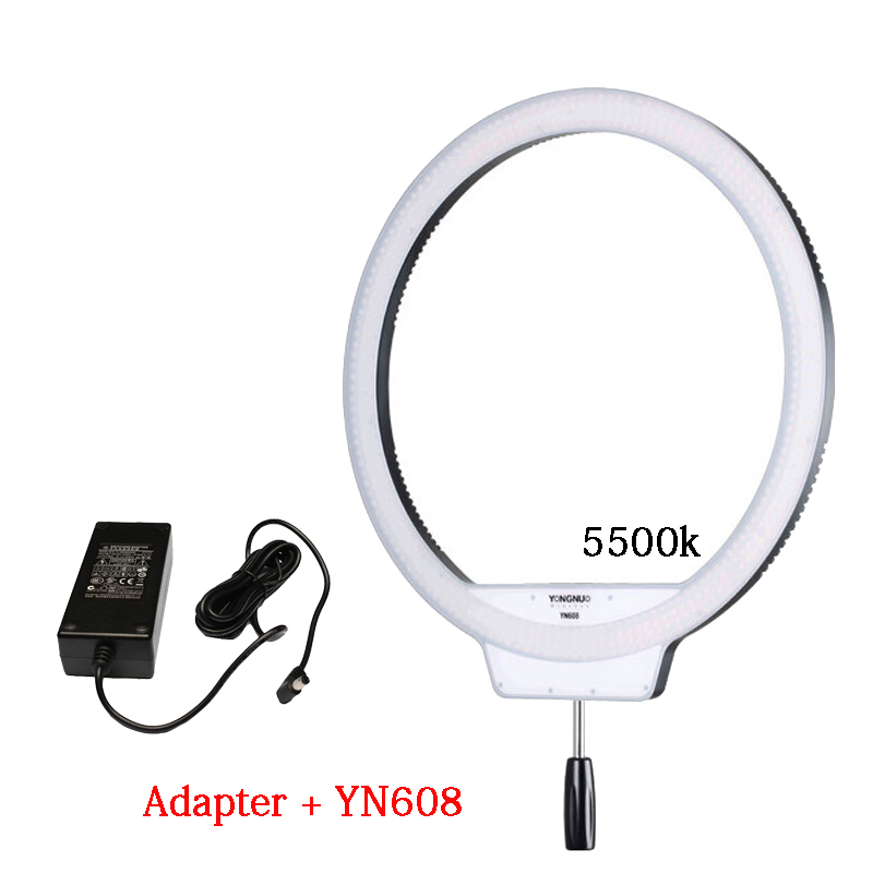 YONGNUO YN608 5500K Annular 608 LED Selfie Studio Ring Light Lamp Wireless Remote LED Ring Video Light CRI>95 + AC Power Adapter
