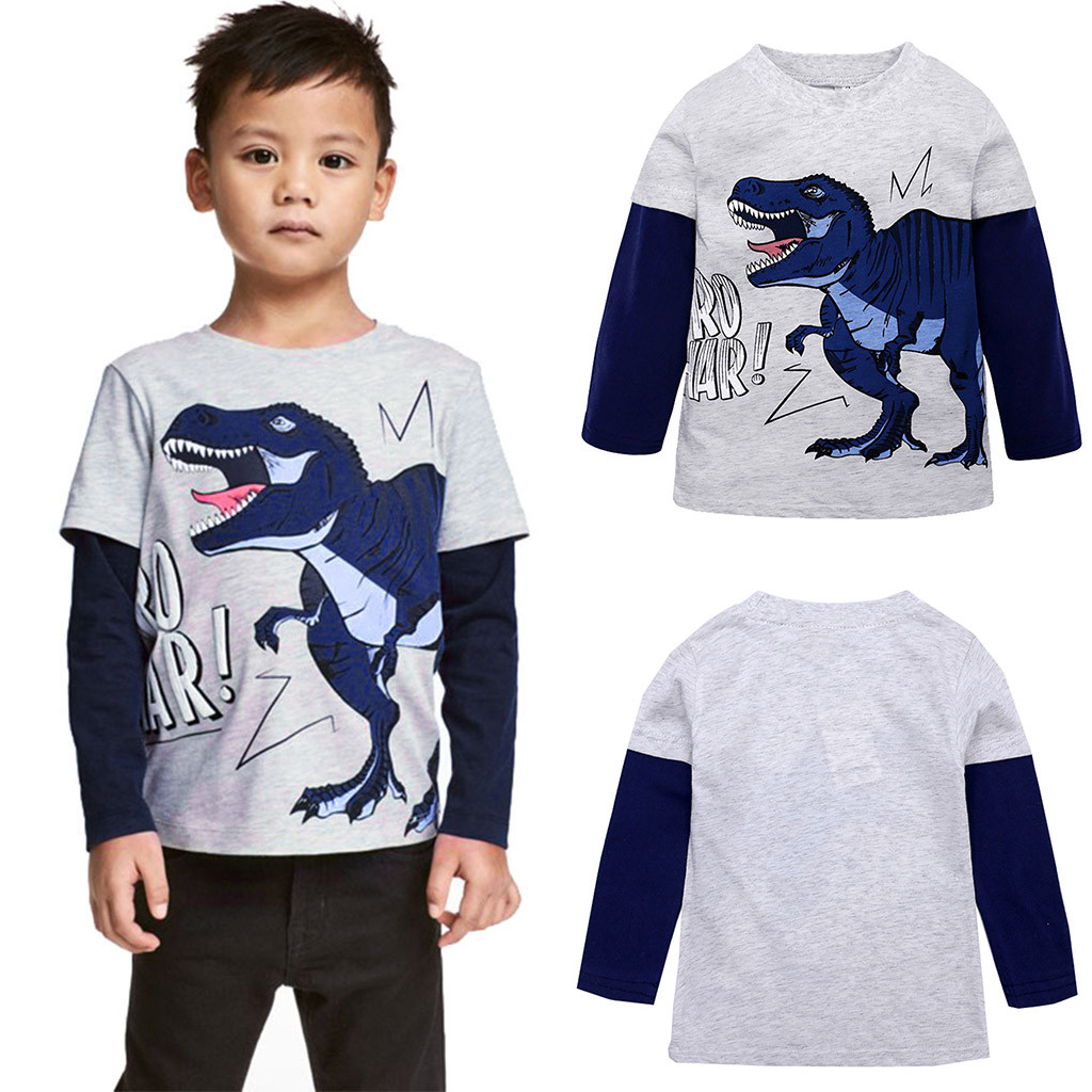 Kids Baby Boys Girls Dinosaurs Short Sleeve T-shirt Clothes Child Toddler Tops