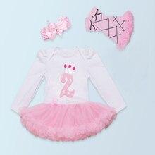 3 PCs par Ensemble Manches Longues Blanc Rose Bébé Filles 2ème Anniversaire Couronne Robe Outfit Bandeau Leggings