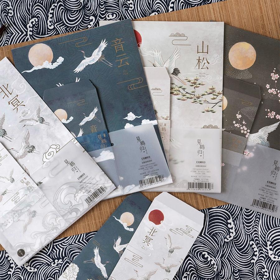 9 Pcs/Set 3 Envelopes 6 Letter Papers Ancient Style Immortal Crane Series Letter Envelope Set Gift Stationery