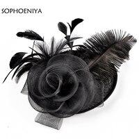 d845db1c05 ... sombrero negro velo novia flor plumas Fascinator boda velos. New  Arrival Bridal Net Feather Hats Black Hat Veil Bridal Flower Feathers  Fascinator Bride ...