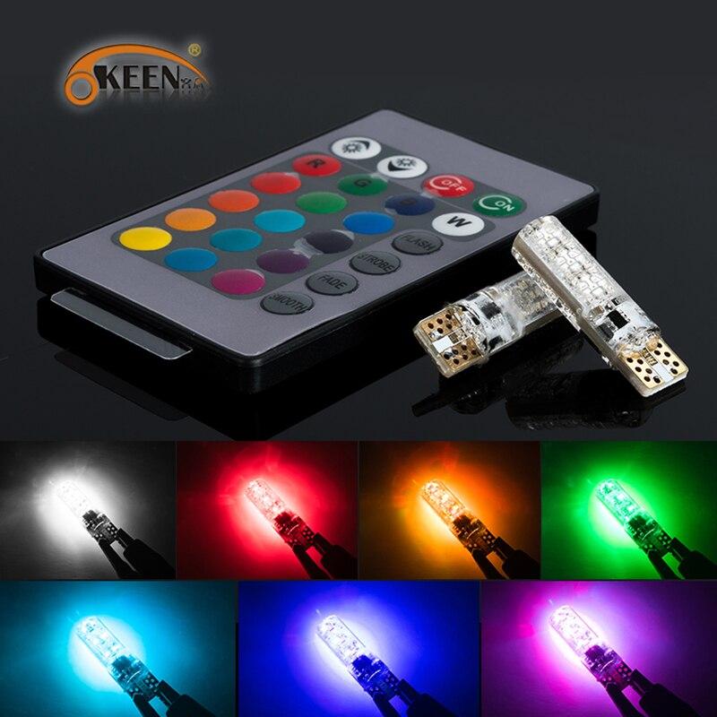 OKEEN RGB lampadina t10 led 2017 più nuovo 2 PZ Colourful 6SMD 5050 W5W lampadina a led automotive flash strobe con telecomando