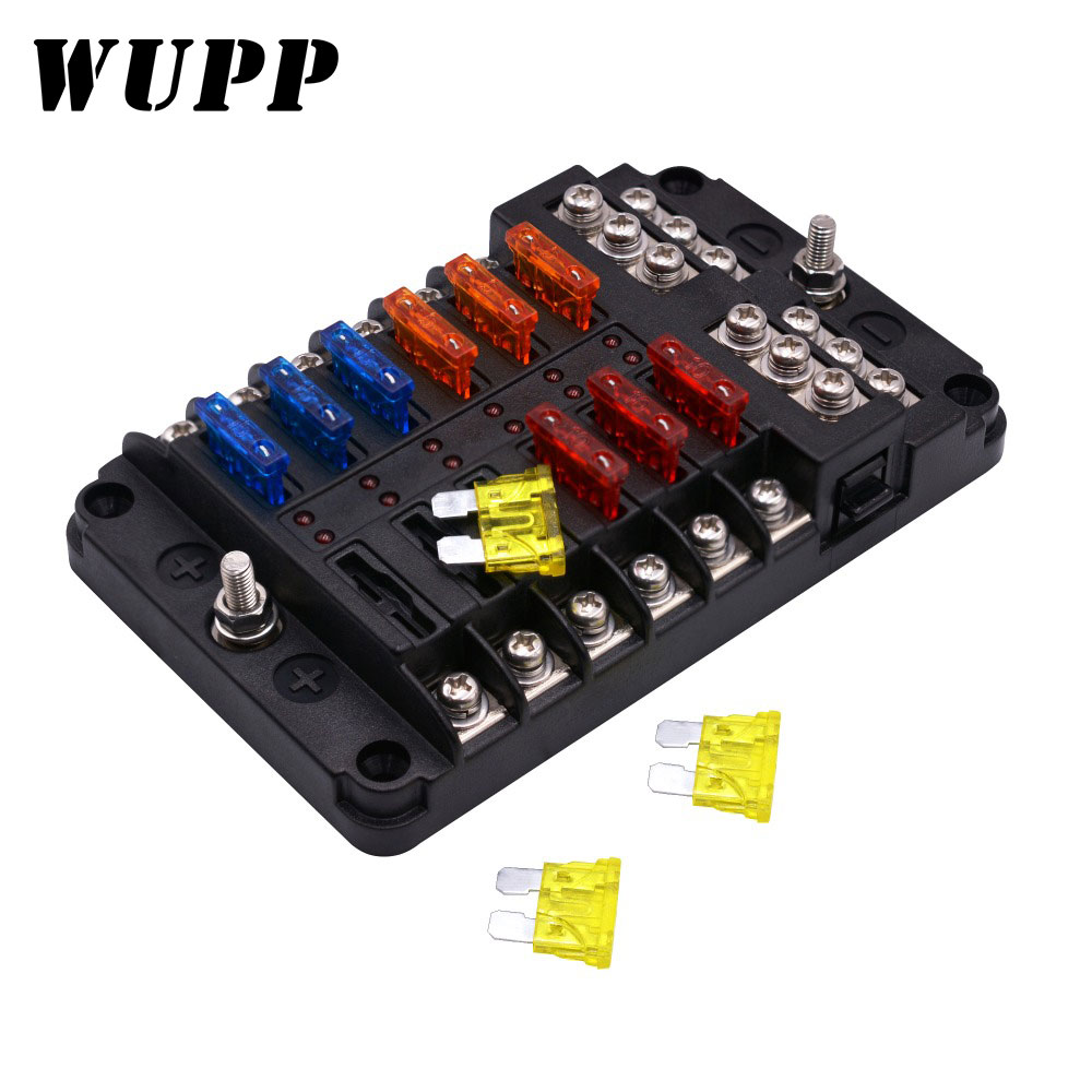 WUPP Car Fuse Box 12 Way 10 Way 8 Way 6 Way M5 Stud Independent Positive And Negative For Auto Car Boat Marine Trike Caravan