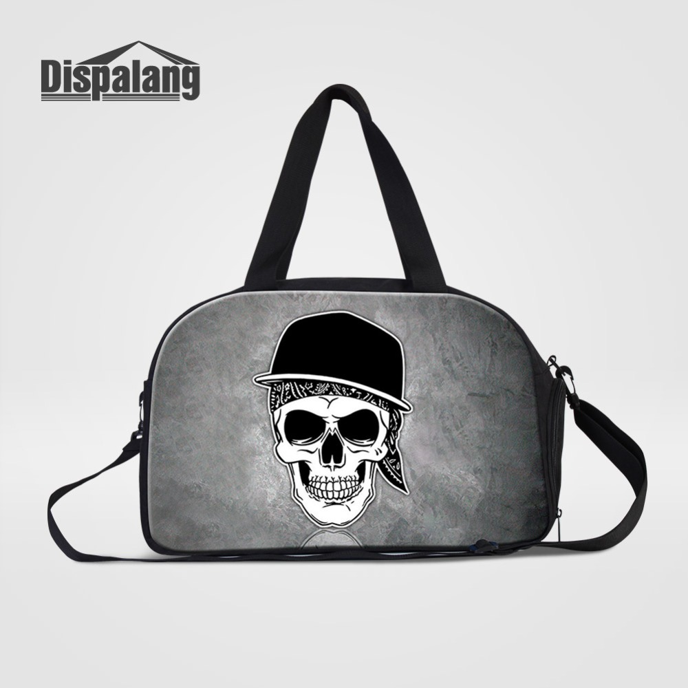 Cool Skull Expression Travel Bags Suitcase For Men Canvas Duffle Bag With Shoes Pocket Clothes Travel Organizer Weekend Handbag