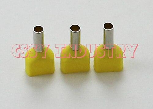 100 шт./лот TE16-14 2x16mm2 наконечник для проводов провода Медь обжимной соединитель изолированный кабель Twin контактный конец терминала - Цвет: Yellow TE1614 100PCS