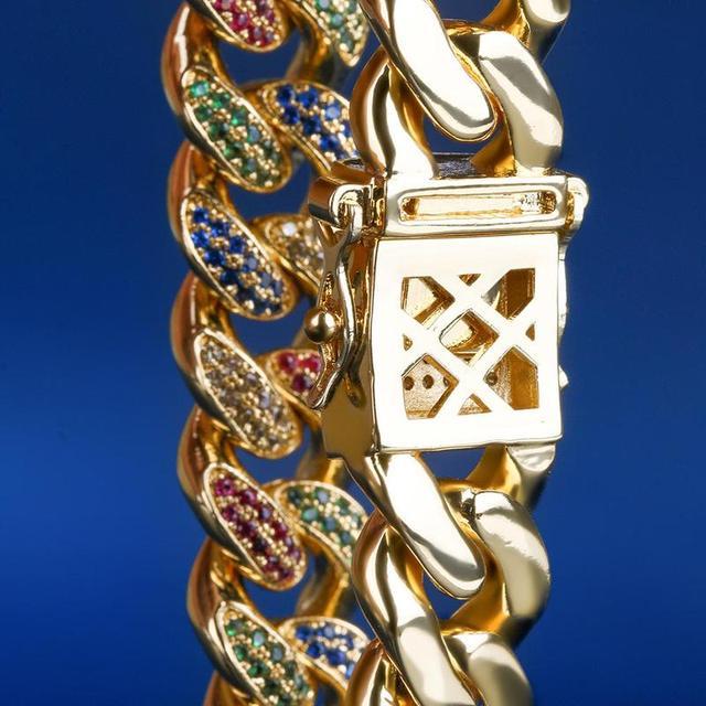 Bracelet cubain glacé multicolore 12mm lien cubain hommes Cz Bracelet glacé pour hommes femmes Hip Hop bijoux Bracelet 8/9 pouces