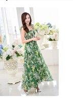 Donne di marca summer dress maxi dress porcellana verde ladies beach vestidos abito lungo stampato floreale a vita alta bohemian dress xl