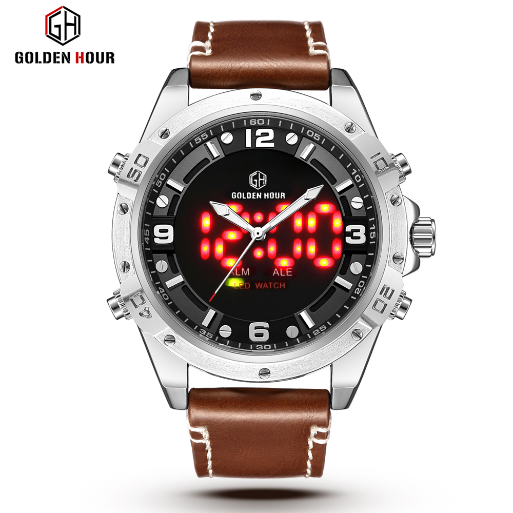 GOLDENHOUR Top Brand Fashion Sport Watches Men Quartz Analog LED Clock Leather Military Waterproof Watch Relogio Masculino Gift