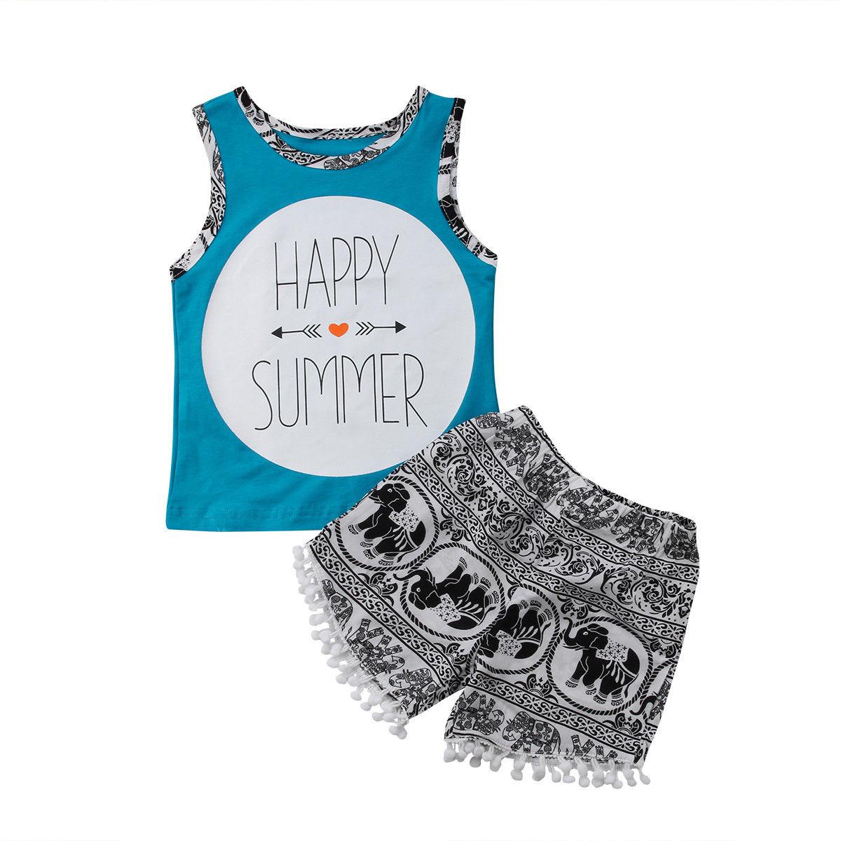 Pudcoco для малышей детская одежда для мальчиков без рукавов майка + шорты костюм со штанами 1-5Years Helen115