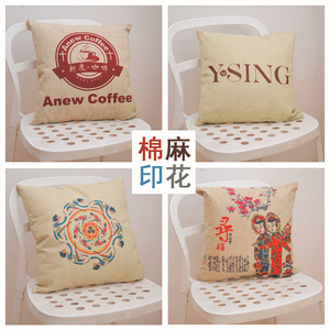 Image 4 - Thuis Textiel Eenvoudige Afdrukken Kussen, Core Katoen, Linnen, Pluche, Creatieve Kussen, Gift Kussen, logo Patroon Customization