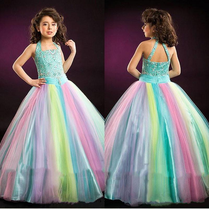 Arc-en-ciel Glitz filles Pageant robes licou cou cristal sans manches enfants robes de bal longueur de plancher adolescents filles robe de bal