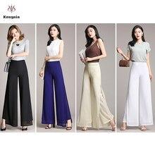 Лето, широкие женские штаны, шифоновые высокие женские брюки, свободные двухслойные штаны с разрезом, элегантные танцевальные Капри размера плюс 4XL