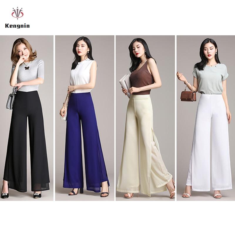 Summer 2019 Wide Leg Women   Pants   Chiffon High Ladies Trousers Loose Double Layers Split   Pants   Elegant Dance   Capris   Plus Size 4XL