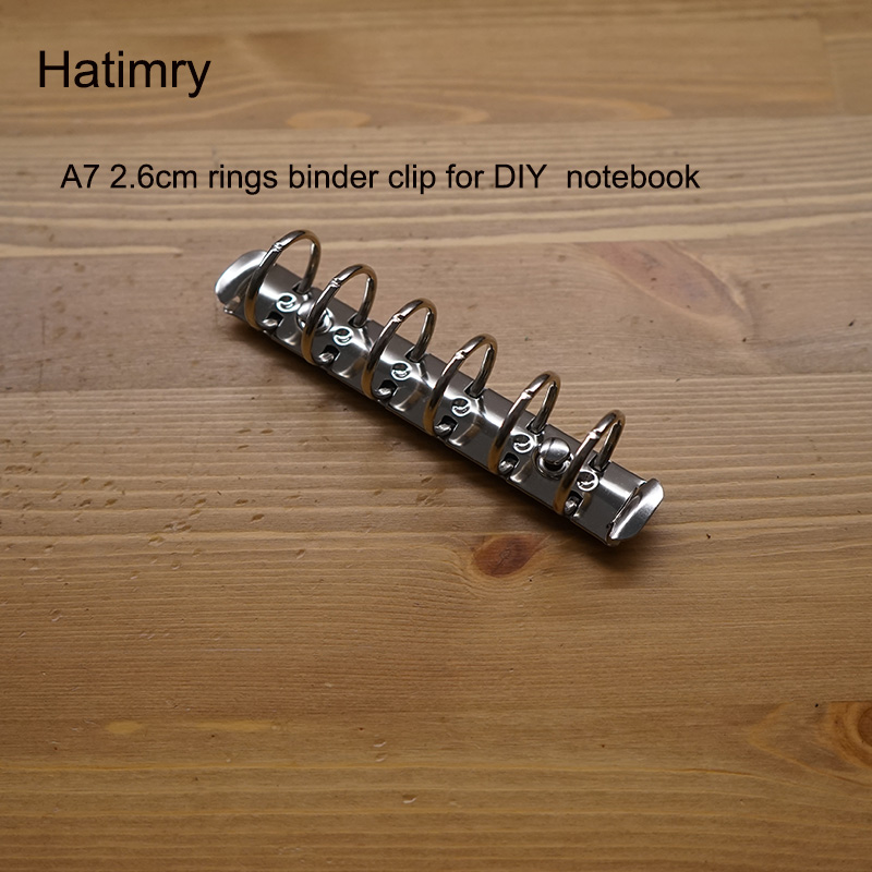 Hatimry A7 Big Rings 2.5 Cm Rings Clip Notebook Clip 6holes Sliver Color For DIY Notebook A7 Size Binder Clip School Suppliers