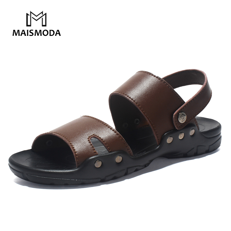 MAISMODA Summer Men Sandals Split Leather Casual Shoes Soft Comfortable Flip Flops Fashion Beach Shoes Plus Big Size 39-49