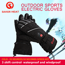 SAVIOR winter heated gloves skiing motorcycle fishing gloves electric heating gloves sheepskin leather fingers real heat