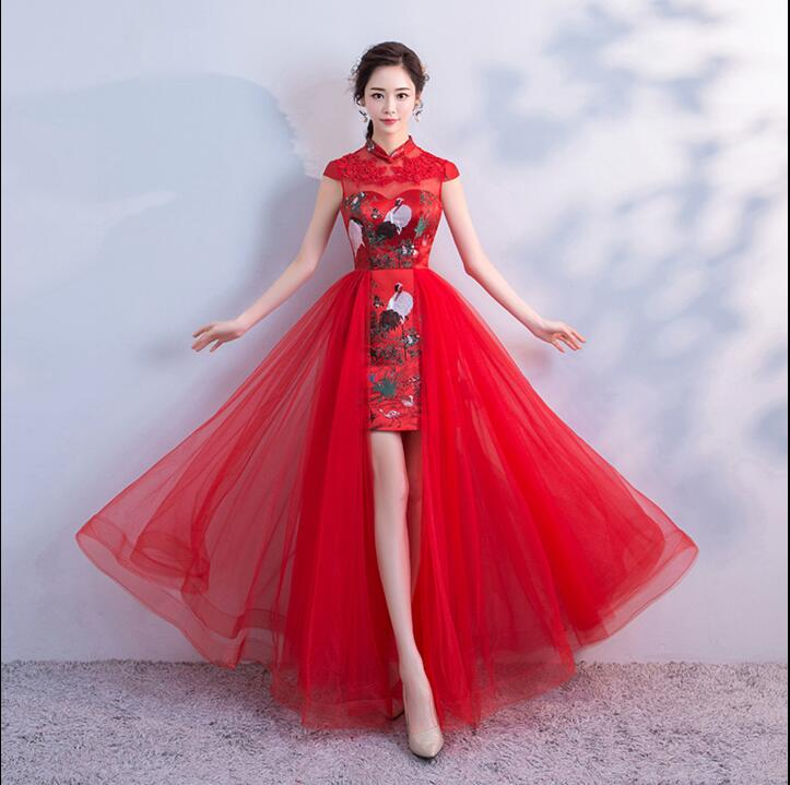 Red Traditional Wedding Bridal Cheongsam Dress Traditional Chinese