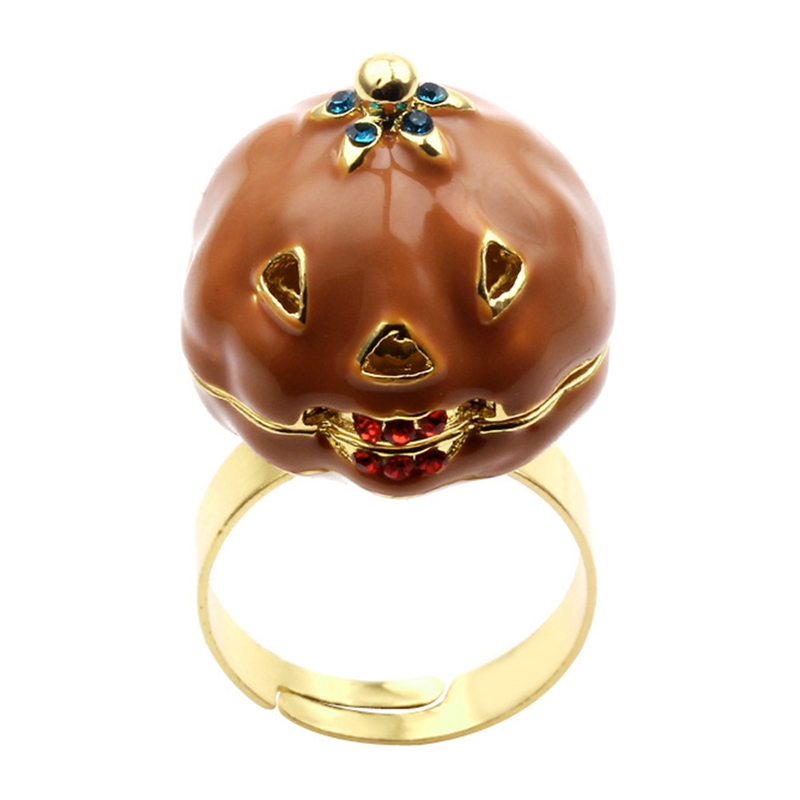 New Retro Pumpkin Ring For Women Elegant Plant Rings Adjustable Cute Jewelry Gift