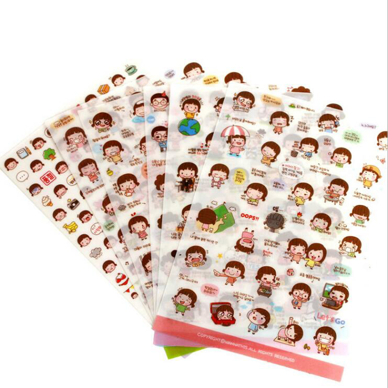 6PCS / bag cute Korean girls stickers / diary & phone stickers creative cartoon series stickers small gifts of school supplies