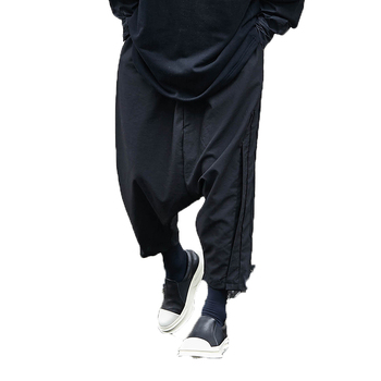Pantalones informales bombachos para Hombre, Pantalón de algodón de entrepierna, pantalón de pierna ancha, estilo Hip-hop
