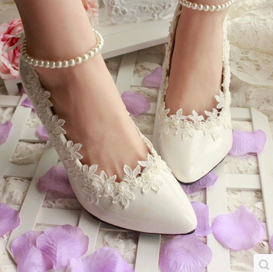 Female High Heel 3CM/4.5CM/8.5CM/11CM White Pearl Wedding Shoes Bride Bridesmaid Women Pump - I'm with you store