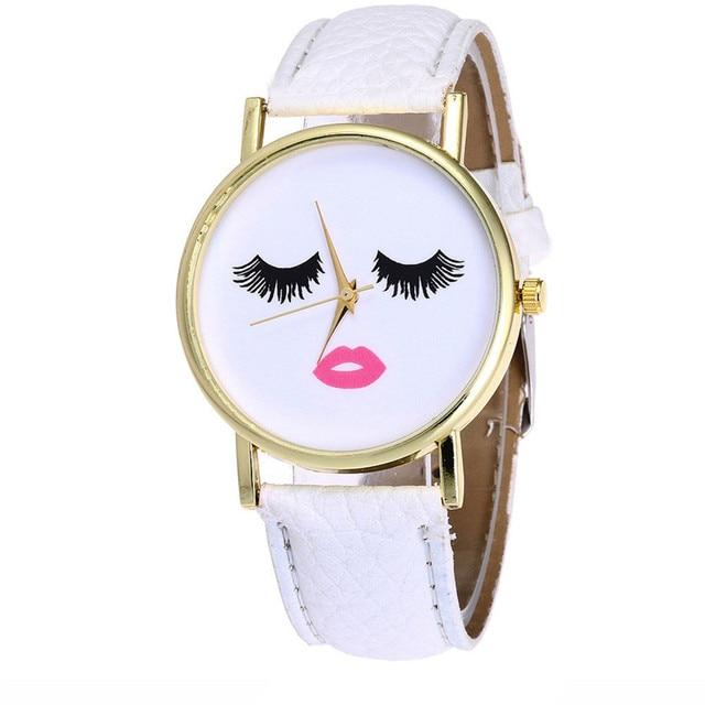 Fashion Long eyelashes Ladies Watch Male And Female Clock PU Leather Strap Analo