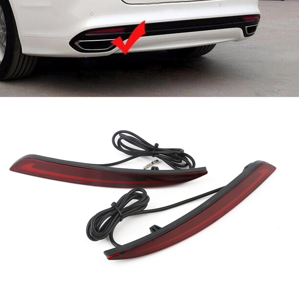 Auto Car LED Rear Bumper Warning Light Break Lamp Red 2pcs Tail Light For Ford Mondeo 2013-2016 Free Shipping D35 dongzhen fit for nissan bluebird sylphy almera led red rear bumper reflectors light night running brake warning lights lamp