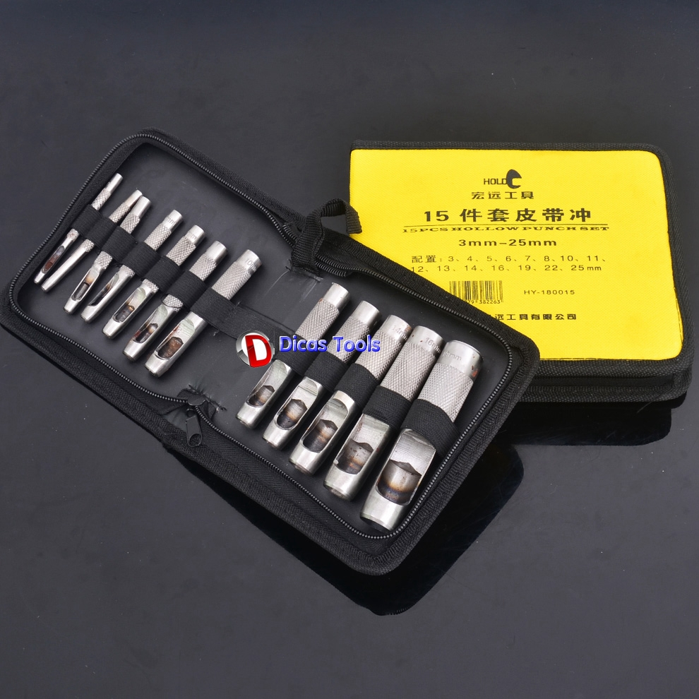 ФОТО 15pcs leather belt puncher for piercing eyelet work punch hole tool set