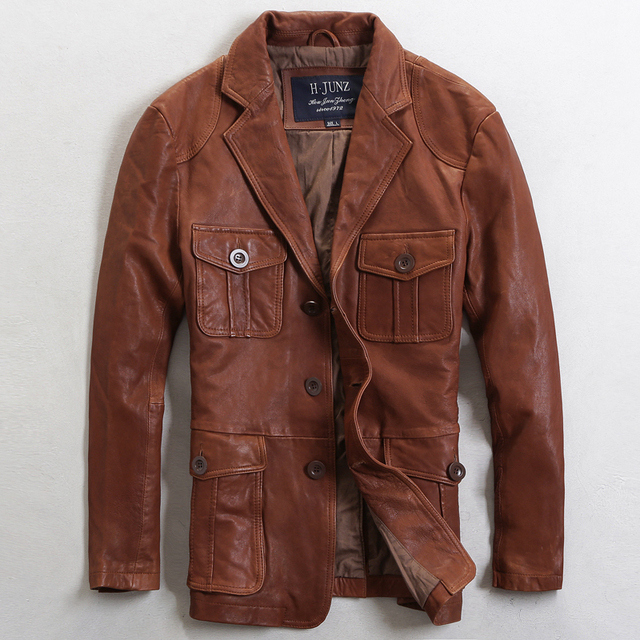 2015 New Business Casual men leather jacket Long Suit collar Single-breasted Brown Genuine Leather jacket