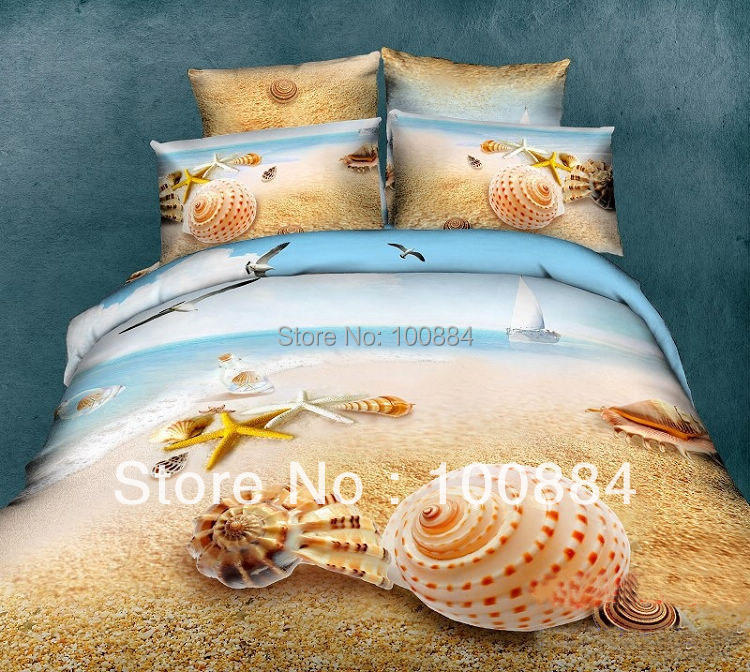 New Fashion 3d Oil Painting Beach & Shell Bedding For Full Size Bed,500tc 4pc 3d Oil Bedding Without Filler,summer Beach &shell Home Textile Bedding Sets