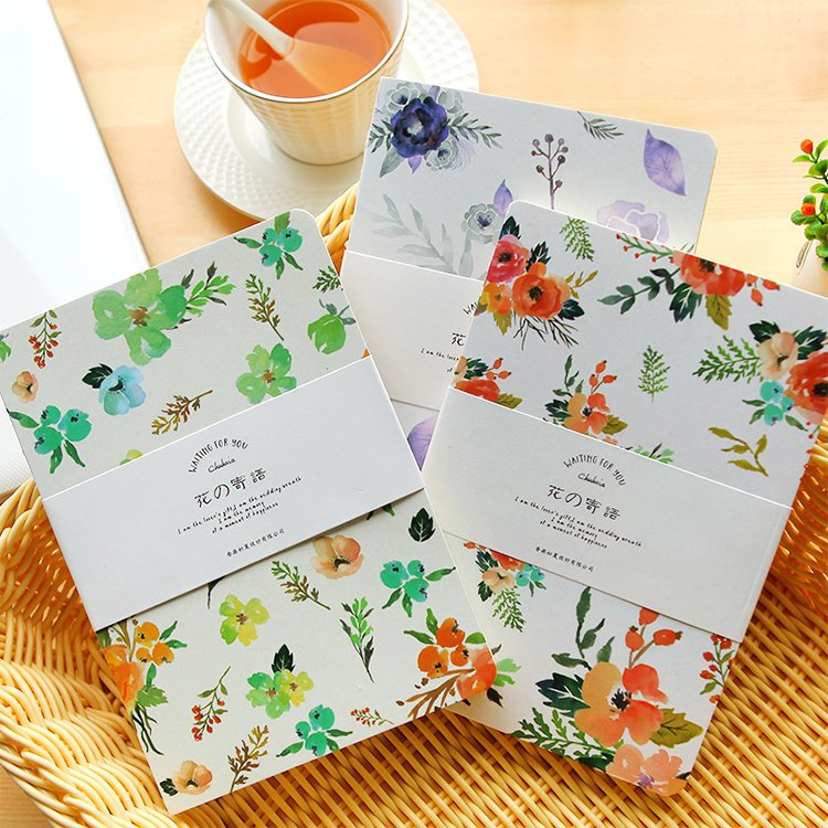 Flowers naked hand book blank pages notebook small pure and fresh note book diary South Korea