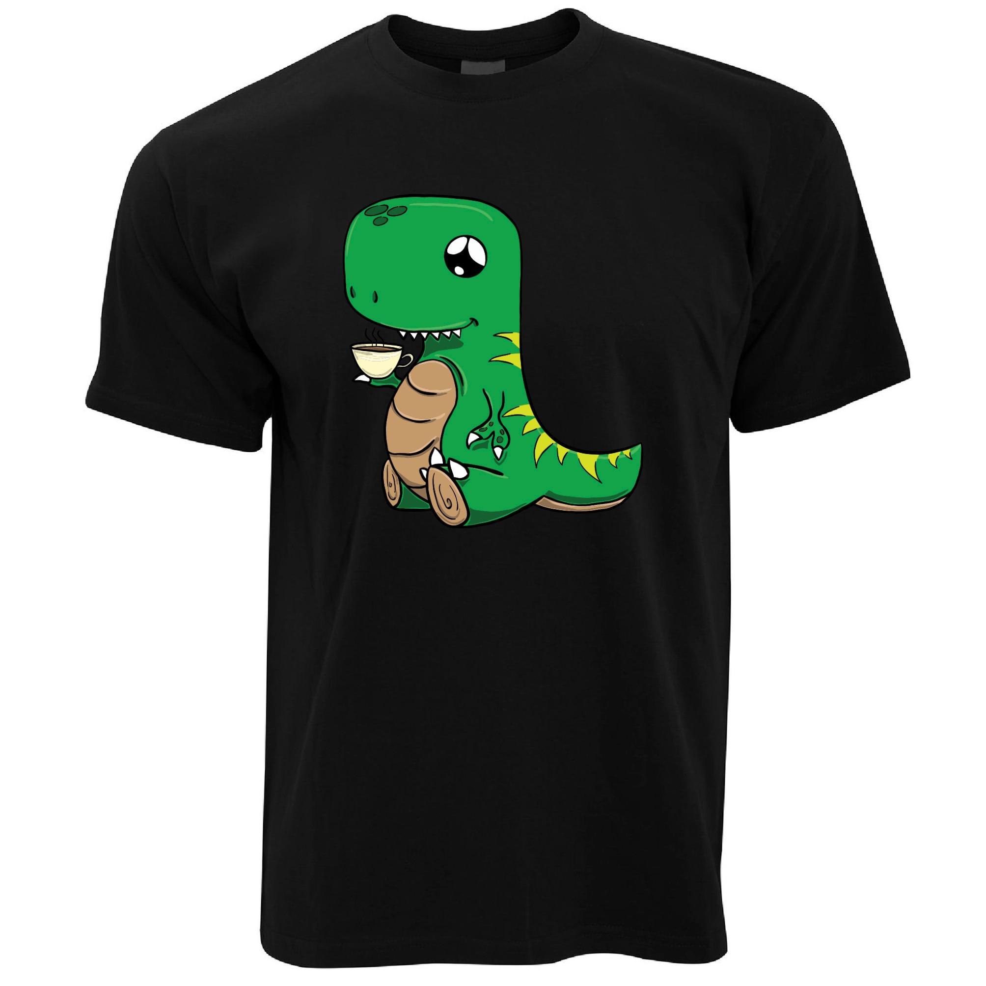 Динозавр питьевой Чай милые рисованной доброе утро Кофе напиток Для мужчин s футболка Для мужчин высокое качество футболки топы, футболки
