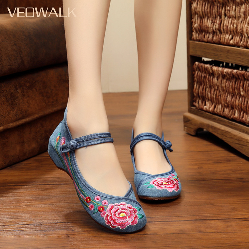 Veowalk Women Casual Flower Embroidery Shoes Chinese Style Old Beijing Ladies Canvas Flats Zapatos Mujer Plus Big Size 35-41