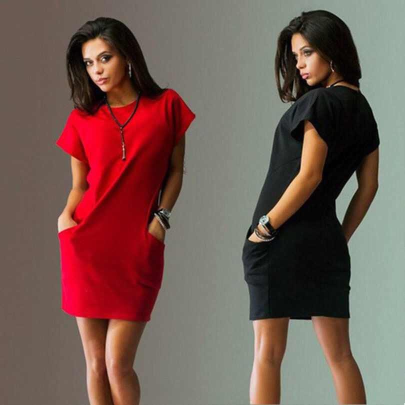 Summer T Shirt Dress Sexy Solid Short Sleeve O Neck Casual Women's Bodycon Mini Dresses Pocket Slim 2018 Fashion Red Blue Dress