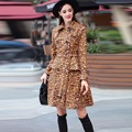 High Quality 2016 Winter &Autumn Newest Fashion Leopard Turn-Down Collar Double-breasted Full Sleeve Sashes Long Coat Women