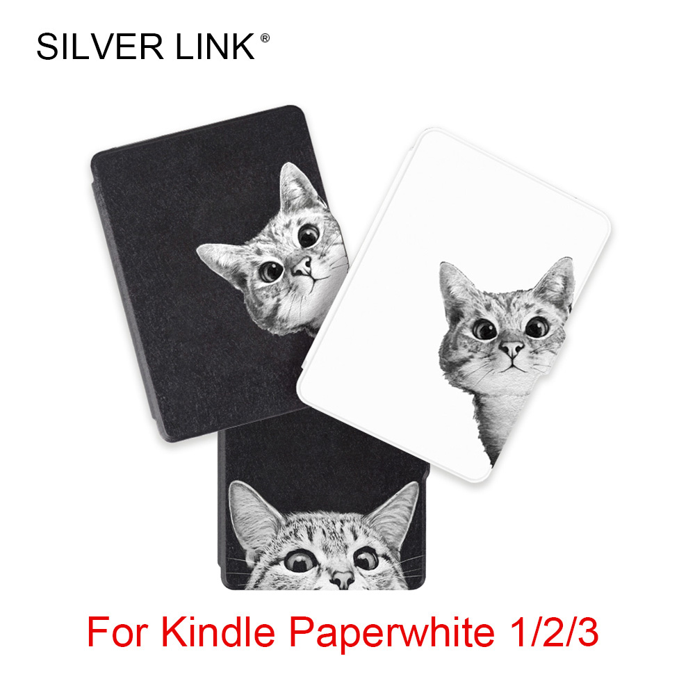 Plata LINK gatito impresión Kindle Paperwhite 1/2/3 Caso patrón de gato PU cubierta para Amazon lector Auto Sleep/Wakeup Protector Shell