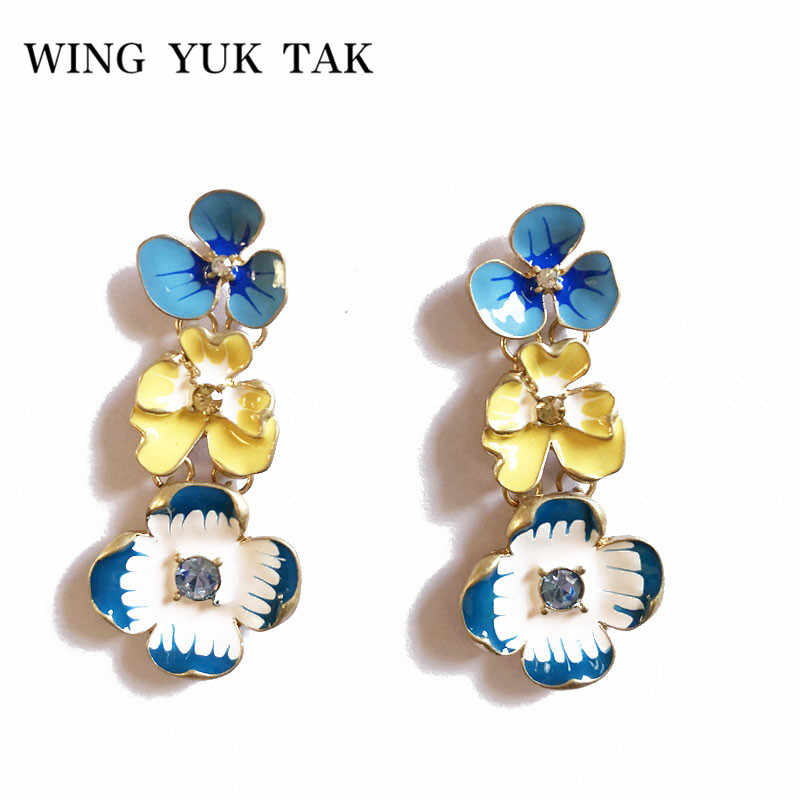 wing yuk tak Trendy Enamel Flower Earrings For Women 2018 Unique Designer Handmade Multicolor Beautiful Party Jewelry