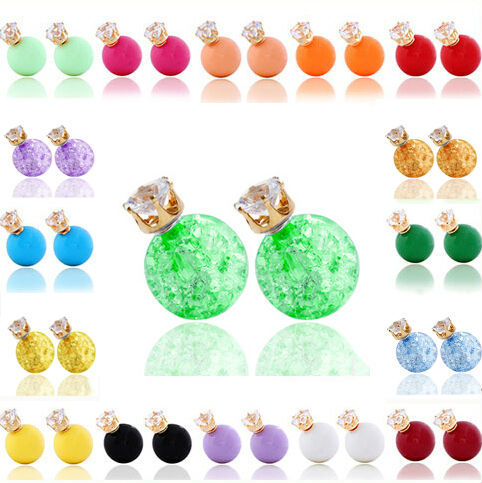 Free Shipping New 18 Color Stud Earring Round Big ...