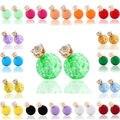 Envío de la Nueva 18 Color Pendiente Del Perno Prisionero Redondo Granos Grandes de La Perla Pendientes de Cristal Corona Pendiente Del Encanto para la Joyería Moda mujer