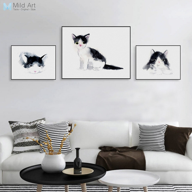 Black White Watercolor Animal Kawaii Cat Posters Nordic Pet Home Decor  Canvas Painting Kids Room Wall