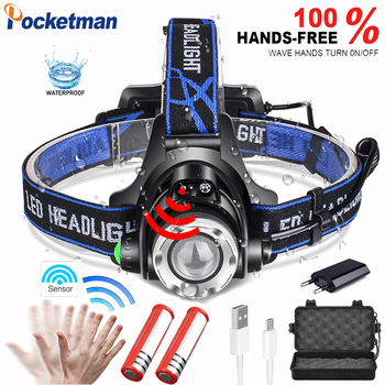 Sensor Powerfull  V6 LED headlamp Zoomable Waterproof fishing headlight T6/L2 3 modes Head Torch flashlight Head lamp use 18650 1