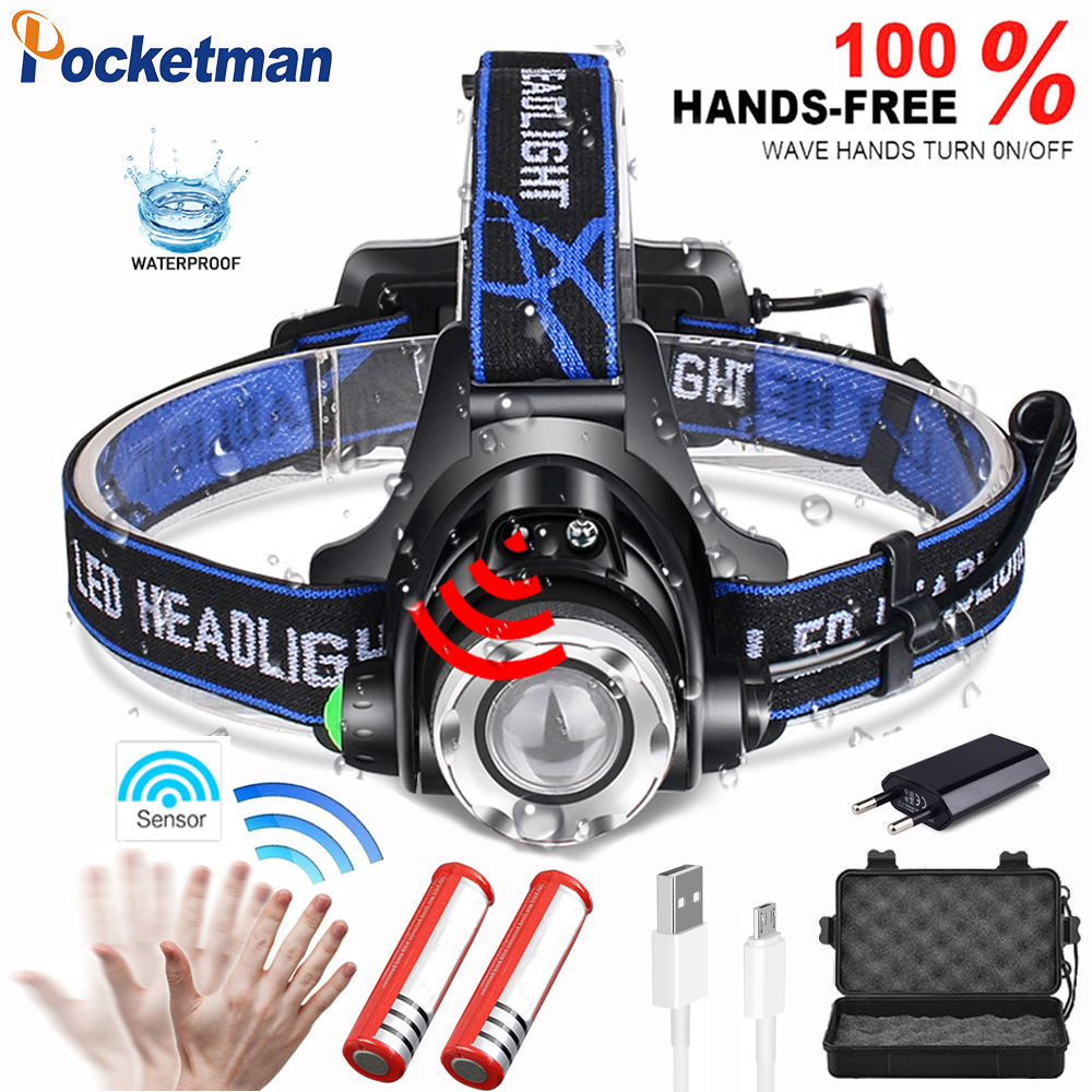 Sensor Powerfull  V6 LED Headlamp Zoomable Waterproof Fishing Headlight T6/L2 3 Modes Head Torch Flashlight Head Lamp Use 18650