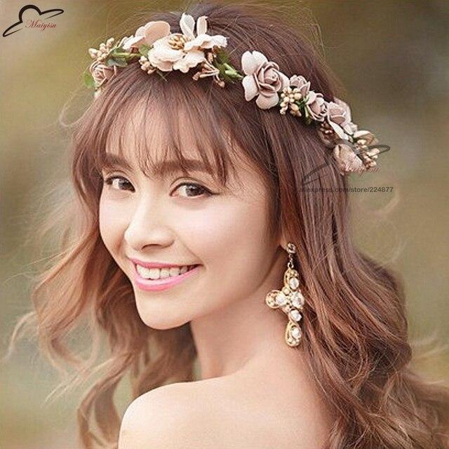 Brautjungfer Rose Blume Kranz Kunstliche Blumen Kopf Kranz Fur Haar