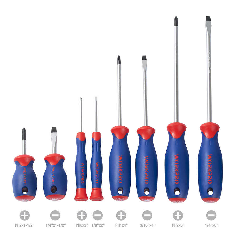 WORKPRO 8PC Screwdrivers Slotted Phillips Screw driver Precision Screwdrivers for Cell Phone Electronics