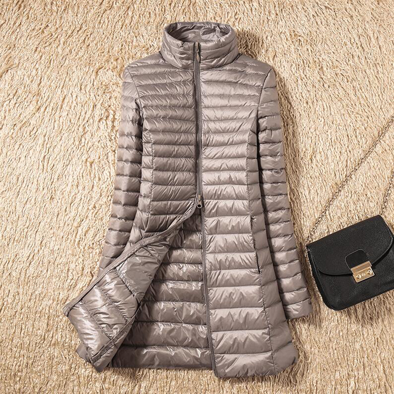 90% White Duck   Down   Jacket Women light Thin Warm Long Winter   Coat   Women Korean Slim Stand collar Female Puffer Jacket
