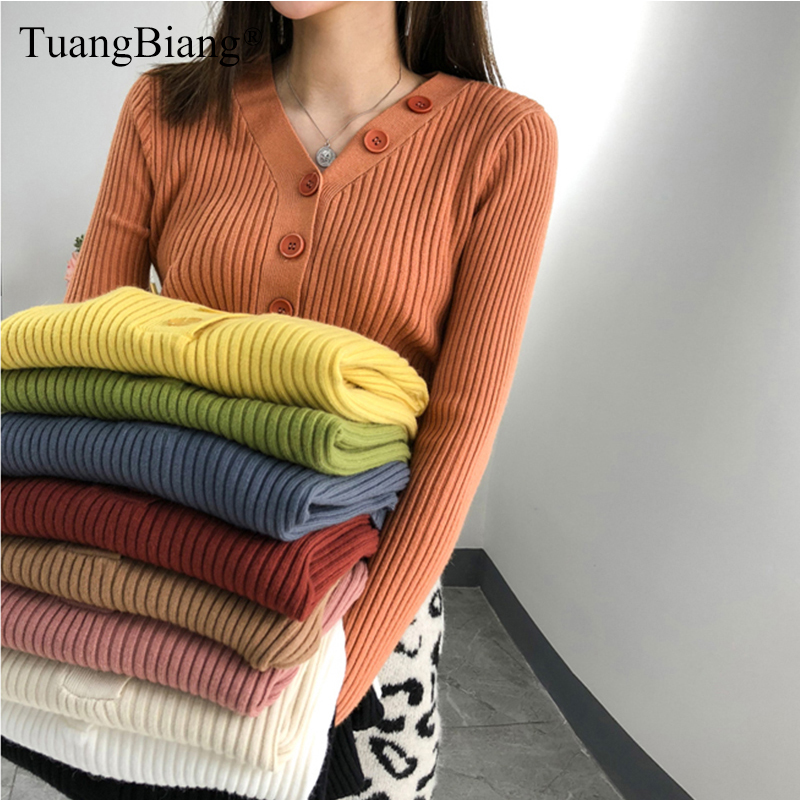 Single Breasted Women Full Sleeve V-Neck Button Sweater 2019 New Knitted Thick elasticity Pullovers Autumn Winter Jumpers Ladies