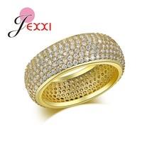 JEXXI New Style Full Micro Rhinestone Paved Pattern Clear AAA Cubic Zircon Wide Finger Rings Luxury