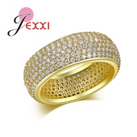 JEXXI New Style Full Micro Rhinestone Paved Pattern Clear AAA Cubic Zircon Wide Finger Rings Luxury