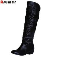 Asumer manera de la venta caliente nuevo llegan las mujeres botas negro blanco marrón bajo la rodilla del talón botas de otoño se deslizan en invierno de las señoras botas altas
